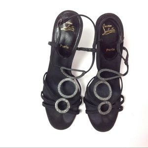 Auth Christian Louboutin Black Slingback Sandals